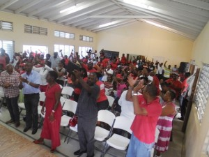 Constituents gave standing ovation several times to their new party candidate