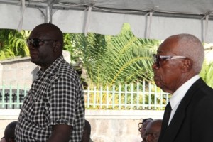 Two of the survivors of the MV Christena disaster 43 years ago (l-r) Mr. Ossie Tyson and Mr. Franklyn Browne acknowledged at a memorial service hosted by the Nevis Island Administration in observance of the tragedy