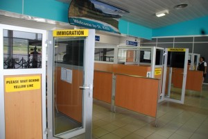 Immigration booths at the Robert L. Bradshaw International Airport.