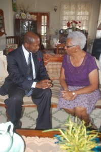 St. Kitts and Nevis' Prime Minister the Rt. Hon. Dr. Denzil L. Douglas personally expressing condolences to Lady Sheila Daniel in June last year.