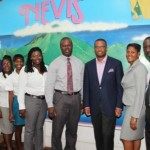 (centre l-r) New Chief Executive Officer of the Nevis Tourism Authority Mr. Greg Phillip and Acting Premier and Minister of Tourism Hon. Mark Brantley and (extreme right) Outgoing Chief Executive Officer of the NTA Mr. John Hanley with staff members of the NTA