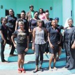 Members of the PEP Cosmetology Class at St. Paul's pose for a group picture. Facilitator Ms Petra Newton is on the right, front row, while the two visiting PEP officials are to the back.