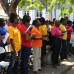 A section of the teachers who participated in the annual Nevis Teachers' Union Rally, on October 4, 2013, at the Memorial Square
