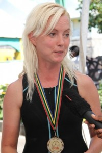 Ms. Pam Challen, United Kingdom winner of a trip to Nevis sponsored by Chain Reaction Cycles in collaboration with Nisbet Plantation Inn, the St. Kitts and Nevis Triathlon Federation and the Nevis Tourism Authority