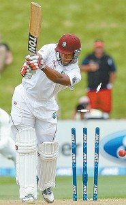 West Indies' Kieran Powell is cleaned up by Tim Southee of New Zealand on the third day of the second Test in Wellington, New Zealand, on Friday.