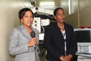 Permanent Secretary in the Ministry of Health Mrs. Nicole Slack-Liburd and Medical Officer of Health on Nevis Dr. Judy Nisbett during the handing over ceremony of equipment for the Eye Care programme on Nevis