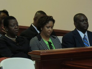 left to right) Permanent Secretary in the Minister of Sustainable Development, Ms. Beverly Harris; Permanent Secretary in the Ministry of Community and Social Development, Ms. Sharon Rattan and Permanent Secretary in the Ministry of International Transport, Mr. Charleton Edwards in the gallery of the National Assembly during the Budget Presentation. (Photos by Erasmus Williams)