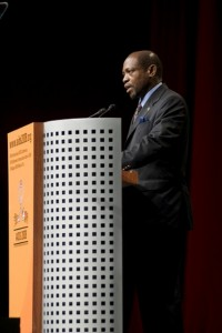 The Prime Minister of St. Kitts and Nevis, the Rt. Hon. Dr. Denzil L. Douglas speaking at an International AIDS Conference in Mexico.