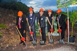 (Breaking of the ground) - Left to right – St. Kitts and Nevis' Prime Minister the Right Hon. Dr. Denzil L. Douglas; T-Loft Property Development President, Mr. Tammas Tang; Chairman of T-Loft Property Development, Mr. Leo Zeng; CEO of T-Loft Property Development, Ms. Ins Zhao and T-Loft Property Development attorney, Mr. Anthony Johnson