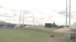 Lighting poles and new jumbotron at Warner Park Cricket Stadium