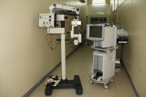 Two of the three new pieces of state-of-the-art-equipment donated to the Eye Care Programme on Nevis (l-r) a Surgical Microscope and a Phacoemulsifier.