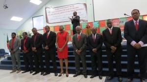 Left to right) - Dr. Terrence Drew, Dr. Vance Gilbert, Mr. Konris Maynard, Dr. Norgen Wilson, Hon. Marcella Liburd, Hon. Dr. Earl Asim Martin, Rt. Hon. Dr. Denzil L. Douglas, Hon. Nigel Carty and Hon. Glenn Phillip.