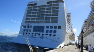 Aft of the Norwegian Epic with the Costa Mediterranea on the right at Port Zante in St. Kitts.