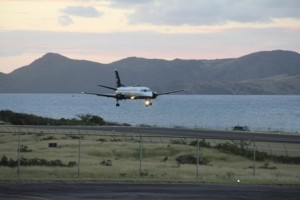 Seaborne Airlines approaching the Vance W. Amory International Airport's runway during its inaugural flight to Nevis on January 15, 2014