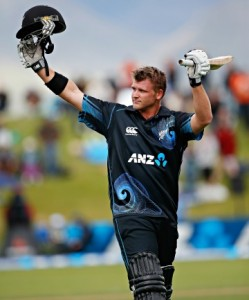 Corey Anderson leaves the fireld after his world best century the third one day international cricket match between the New Zealand Black Caps and the West Indies, Queenstown Events Centre, Queenstown, New Zealand. Wednesday, 01 January, 2014. Photo: Michael Thomas/ photosport.co.nz