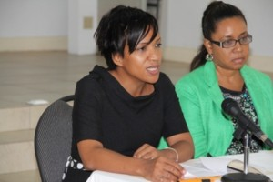 (L-R) Permanent Secretary in the Ministry of Health Nicole Slack-Liburd and Pan American Health Organization Country Programme Specialist for St. Kitts and Nevis Dr. Patrice Lawrence at the Pan American Health Organization and Nevis Island Administration sponsored Human Papilloma Virus and Vaccine Acceptability Study Workshop at the St. Paul's Anglican Church conference room on January 29, 2014