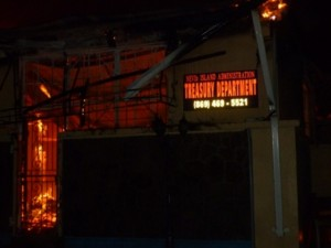 The Treasury Building in Nevis on fire in the wee hours of January 17, 2014
