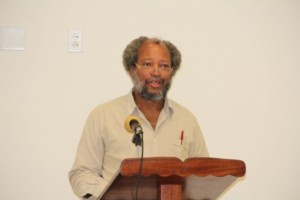 Director of the Nevis Disaster Management Department Lester Blackett delivering remarks at the opening ceremony for the Kitts and Nevis National Tsunami Adaptation Workshop at Long Point on February 19, 2014