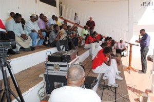 Deputy Premier and Minister of Sports, the Hon Mark Brantley, at the opening ceremony of the Nevis Cricket Association's new season.