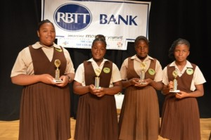 Gingerland Seconday School students (L-R) Anya Octave, Eulone Pemberton, Kurvincia Webbe and Thalia Dore, participants in the first Lower Secondary School Math Bowl sponsored by the RBC/Royal Bank of Trinidad and Tobago (RBTT) Ltd. on February 06, 2014