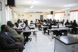 A cross section of the Island Constable Course participants. Police Force Chaplain Pastor Leroy Benjamin is on extreme left, and next to him is Supt. Lionel Moore, Commandant, Police Training School.
