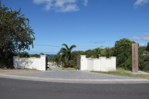 The entrance to the Paradise Beach Nevis Ltd. along the Island Main Road in Colquhoun Estate