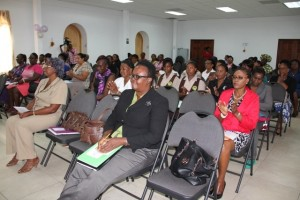 A section of persons at the opening ceremony for a Symposium tailored for women on Nevis on March 05, 2014 hosted by Department of Social Development Gender Affairs Division