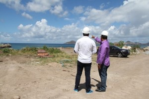 Managing Director of the Residence at Tamarind Cove and Marina Project and local investor Greg Hardtman points out, to Deputy Premier of Nevis and Minister of Tourism Hon. Mark Brantley, the area in which construction work is scheduled to begin for Marina Project