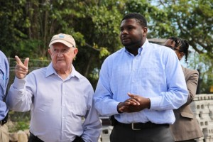 Junior Minister in the Ministry of Communications and Works, Physical Planning and Public Utilities on Nevis Hon. Troy Liburd (l) with Project Coordinator Brian Kennedy, during a tour by Cabinet members of the Water Enhancement Project on April 16, 2014