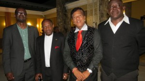 (left to right) - Minister of Foreign Affairs, Homeland Security, Immigration and Labour, the Hon. Patrice Nisbett, Prime Minister the Right Hon. Dr. Denzil L. Douglas, Mr. Flores Findley, and the Hon. Robelto Hector.
