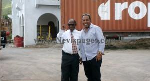 Prime Minister Denzil Douglas and Managing Director, TCMD Ltd. Greg Hardtman share a light moment