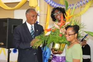pecial Education pioneer on Nevis Reverend Cecele Thompson-Browne is acknowledged by Hazel Byron, a former student of the Special Education Unit at the renaming ceremony of the school in her honour on April 29, 2014. Premier of Nevis and Minister of Education Hon. Vance Amory looks on