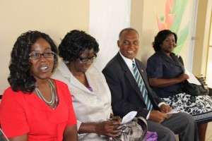 (L-R) Present Supervisor of the Special Education Unit Violet Clarke, Reverend Cecele Browne, the first supervisor of the Unit in whose name the school was renamed; Premier of Nevis and Minister of Education Hon. Vance Amory and Permanent Secretary in the Ministry of Education Lornette Queeley-Connor at the renaming ceremony of the Special Education Unit on April 29, 2014