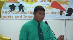 Outgoing Vice President of the Nevis Youth Council Duryan Cozier