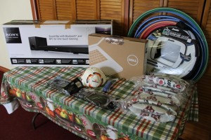 Electronic and sporting equipment donated to the Department of Education for the Charleston Secondary School Library and the Ivor Walters Primary School from the Nevis Association of South Florida on May 20, 2014