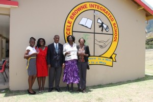 Past and president supervisors at the Special Education Unit on Nevis with Reverend Cecele Thompson-Browne (second from right) and Premier of Nevis Hon. Vance Amory (third from right) moments after the school was re named in her honour as the Cecele Browne Integrated School on April 29, 2014. (L-R) Deputy Principal Jennifer Liburd, Principal Violet Clarke and former Principal Adella Francis-Meade