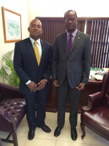Country Representative for the Organisation of American States (OAS), Mr. Terence Craig (left) and St. Kitts and Nevis' Minister of Foreign Affairs, the Hon. Patrice Nisbett.