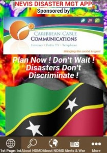 """Screenshot cover of the Nevis Disaster Management Department Application """"app"""""""