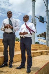 Minister Phillip (left) and Deputy Prime Minister Martin observe work in progress