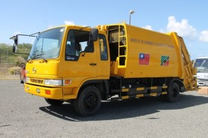The waste disposal truck handed over to the Nevis Island Administration by the Republic of China (Taiwan)'s Resident Ambassador to St. Kitts and Nevis His Excellency Miguel Tsao on July 21, 2014 on behalf of Tainan County in Taiwan