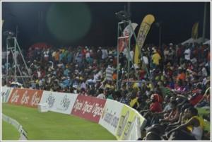 The crowd at Warner Park Cricket Stadium