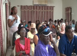 A section of those in attendance at a town hall meeting hosted by the Nevis Island Administration in Charlestown at the Red Cross conference room on August 14, 2014