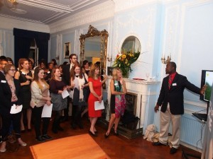 Chief Executive Officer of the Nevis Tourism Authority Greg Phillip makes his presentation to invitees at a cocktail hosted by the Nevis Tourism Authority and the St. Kitts Tourism Authority for tourism partners at the High Commission of St. Kitts and Nevis in London on September 29, 2014