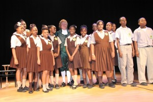 Second Form students from the Charlestown Secondary School with world renowned Alexander impersonator Dr. William Bill Chrystal after his performance at the Nevis Performing Arts Centre on Monday, November 24, 2014