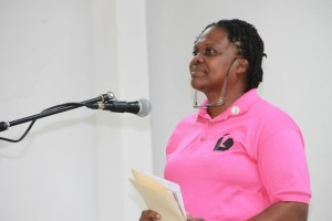 Chief Librarian Mrs. Lornette Hanley delivering remarks on November 17th, 2014, at the Nevis Public Library's 8th annual International College Fair, at the St. Paul's Anglican Parish Hall