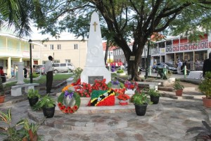 The War Memorial adorned with wreaths on November 09, 2014