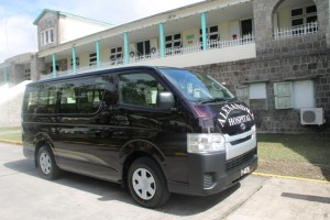 A Toyota bus, a gift from the St. Christopher and Nevis Social Security Board to the Alexandra Hospital on December 19, 2014