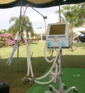 A ventilator monitor, a gift from the St. Christopher and Nevis Social Security Board to the Alexandra Hospital on December 19, 2014