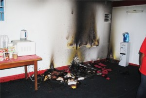 A section of the office that was destroyed by fire.