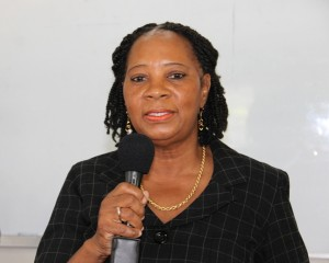 Coordinator in the Department of Social Development's Senior Citizens Division Garcia Hendrickson at the launch of the Introduction to Computer classes for senior citizens at the Nevis International Secondary School's computer lab on January 29, 2015